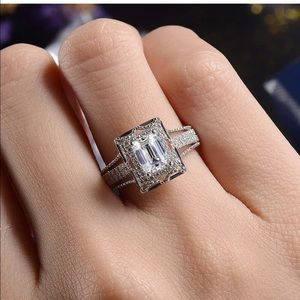 Engagement wedding promise princess square ring
